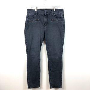 NYDJ Gray Washed Alina Legging Lift Tuck Jeans 14P